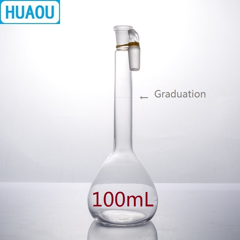 HUAOU 100mL Volumetric Flask Class A Neutral Glass With One Graduation Mark And Glass Stopper Laboratory Chemistry Equipment
