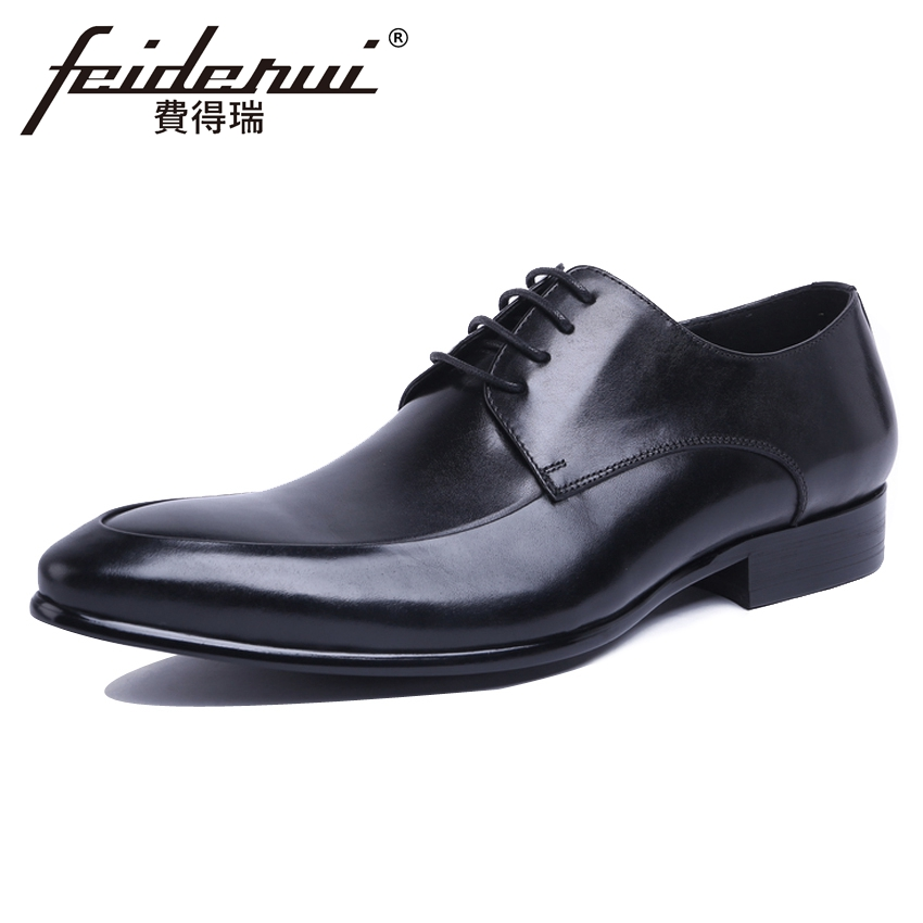 New Arrival Mens Formal Dress Derby Footwear Classic Genuine Leather Pointed Toe Man Wedding Party Shoes For Bridal YMX596