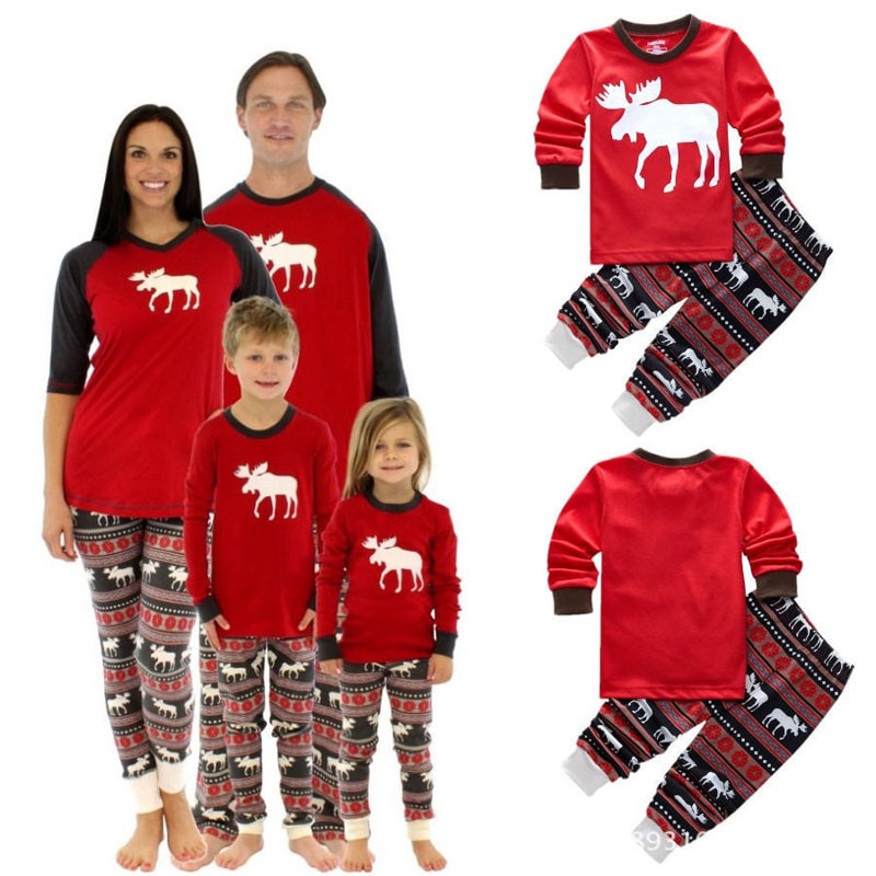 2017 Fashion Christmas Deer Print Family Matching Pajamas Set For Children Parents Clothes