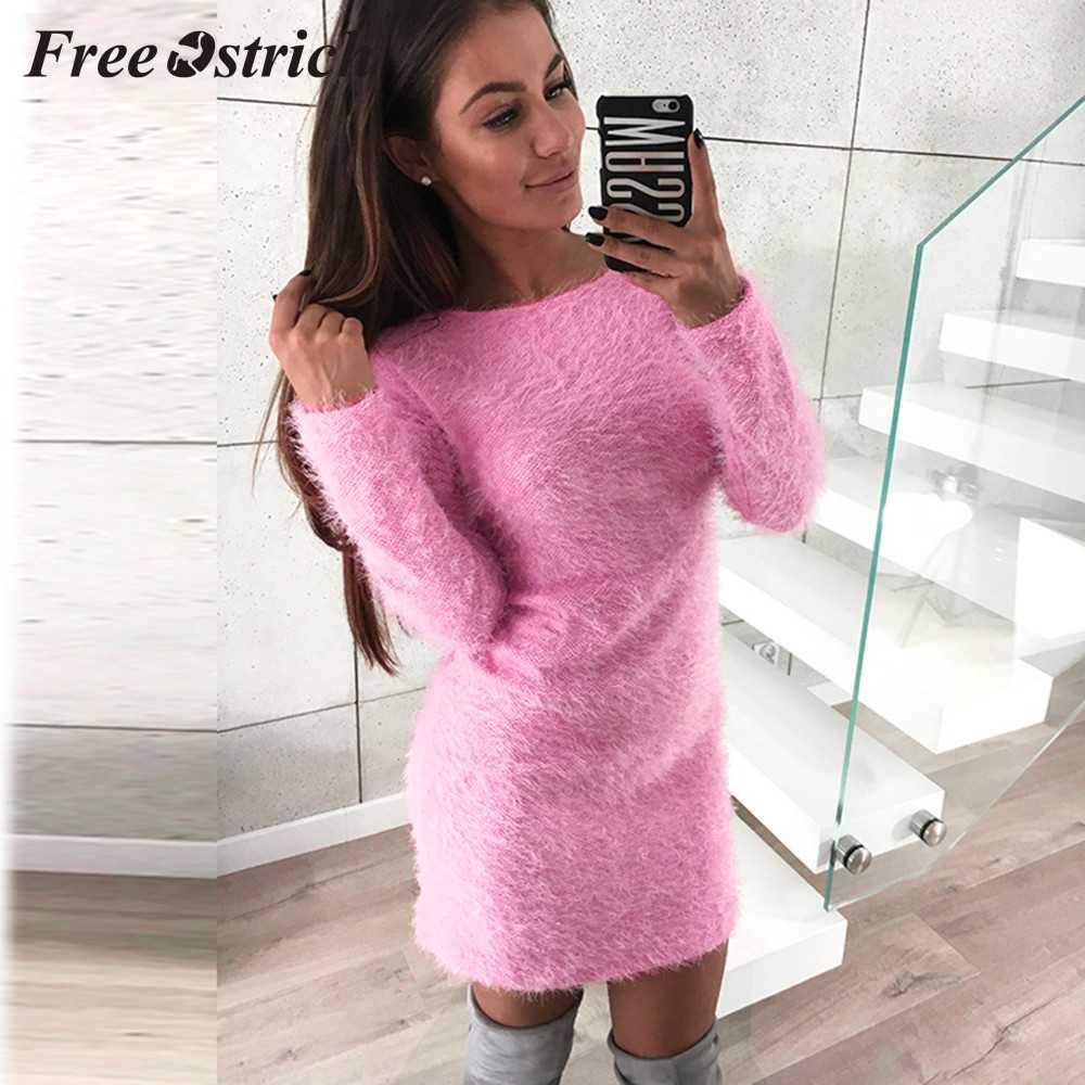 送料ダチョウ 2019 女性の冬の長袖固体セーターフリース暖かい基本ショートミニドレスカシミヤ毎日着用ミニドレス