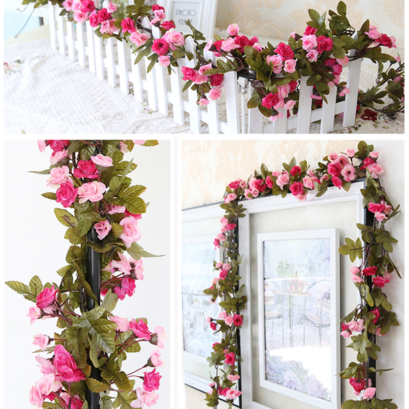 230cm Roses Artificial Flowers With Green Leaves Hanging Garland Silk For Wedding Home Decoration Wholesale Dropshipping In Dried