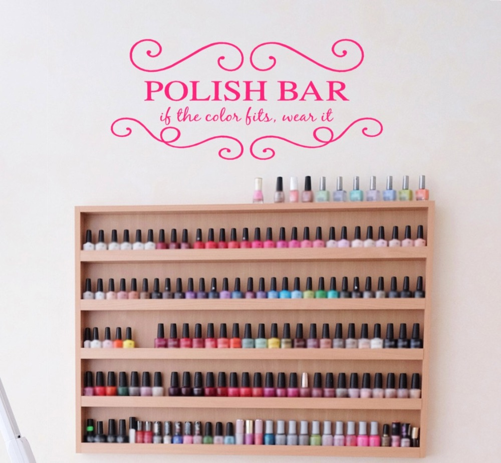 Nails Salon Wall Decal Girls Beauty Salon Wall Stickers For Polish Bar Hands Spa Interior Adhesive Home Decor Art Mural SYY886