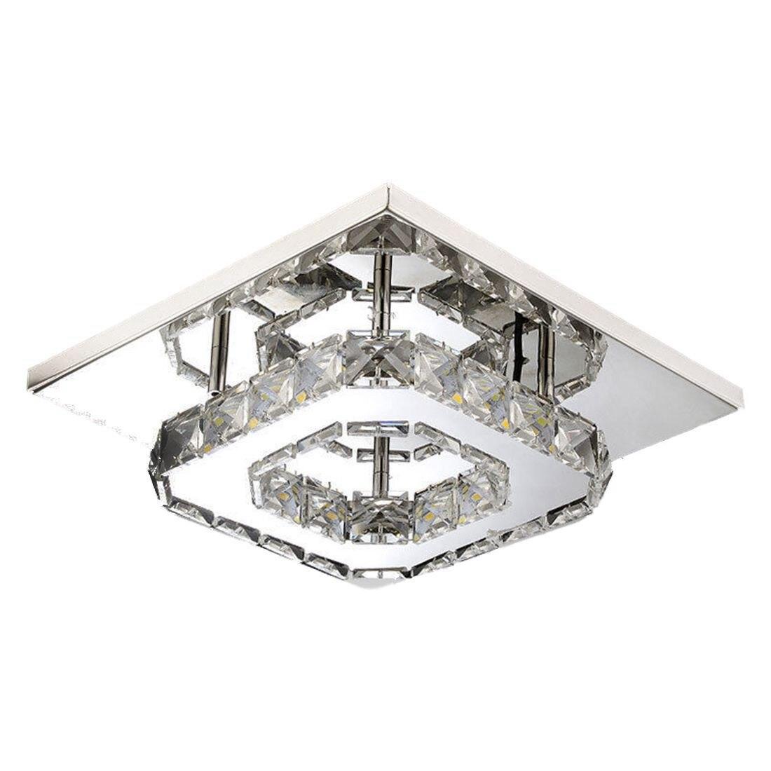 Lámpara de techo de cristal de acero inoxidable de BIFI-20 CM lámpara de araña de cristal claro para pasillo lámpara de techo