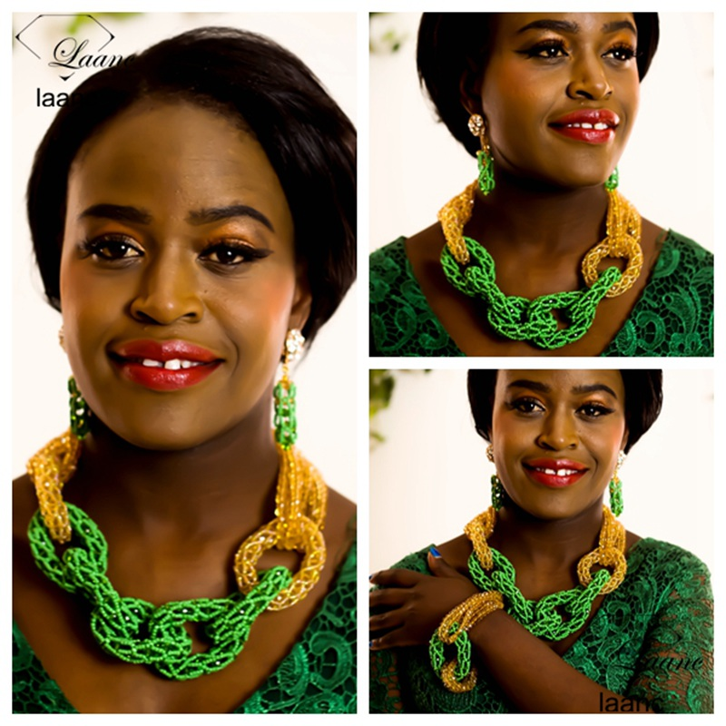 Brand Laanc Nigerian Indian African Wedding Jewelry Sets Crystal Beads Green and Gold Dubai Jewellery Necklace Set AL248