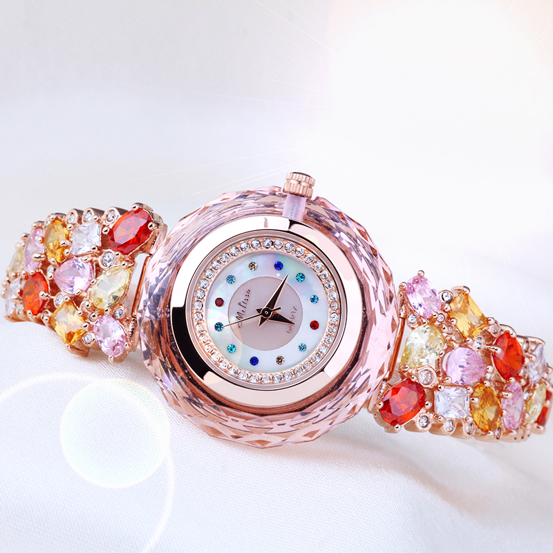 New Melissa Lady Women's Watch Japan Quartz Top Fashion Dress Bracelet Rhinestone Shell Luxury Crystal Girl Birthday Gift fashion modern silver crystal flower quartz pocket watch necklace pendant women lady girl birthday gift relogio de bolso antigo