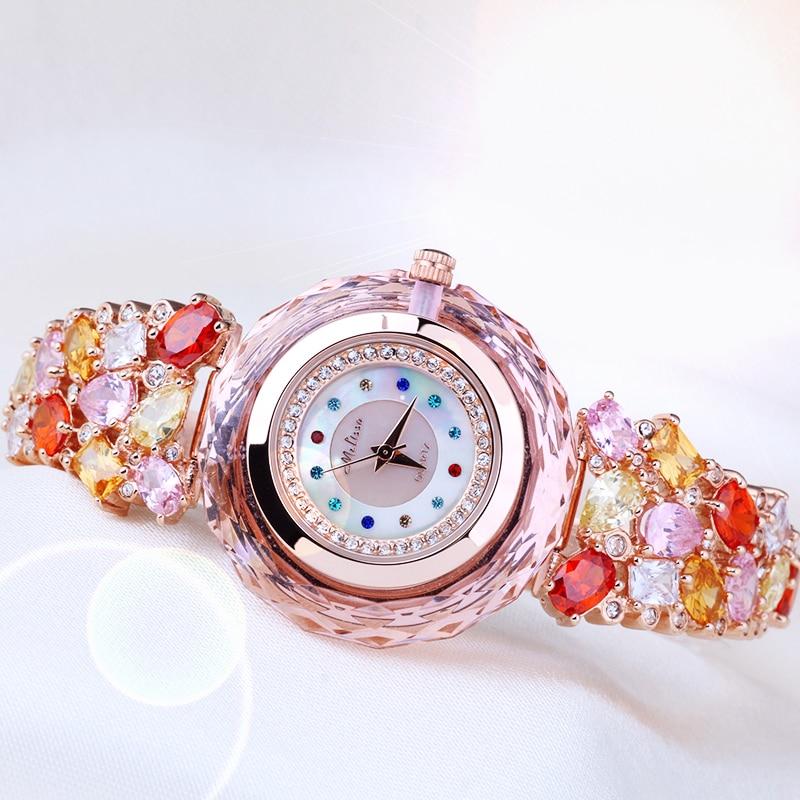 New Melissa Lady Women's Watch Japan Quartz Top Fashion Dress Bracelet Rhinestone Shell Luxury Crystal Girl Birthday Gift