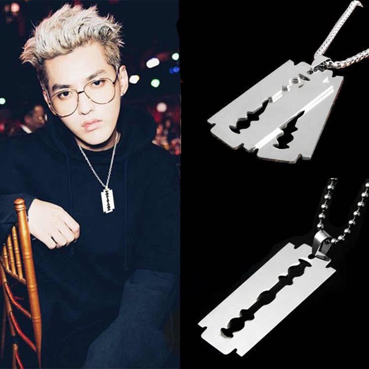 new arrival Men's Stainless Steel Razor Pendant Silver Color Ball Blade Chain Necklace