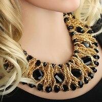 Moda feminina Ampla Trançado Imitação de Cristal Do Grânulo de Vidro Colar Bib Colar Apelativo Corrente de Ouro Tone Ajustável