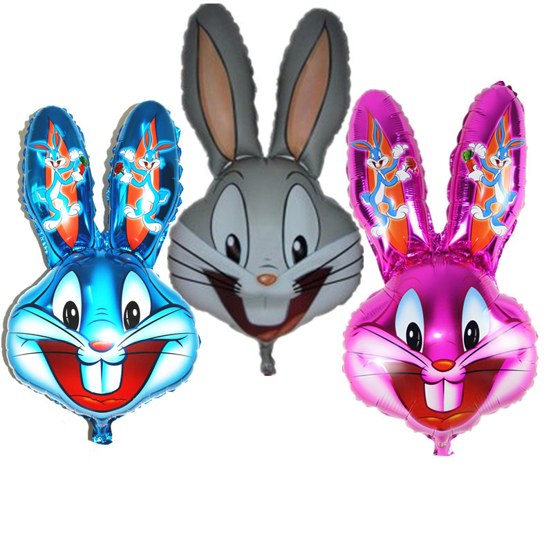 50 Pcs Letter Round Animal Cartoon Rabbit Bunny Aluminum Balloons Set Happy Easter Theme Party Decoration Supplies Kid Toys Event & Party Home & Garden