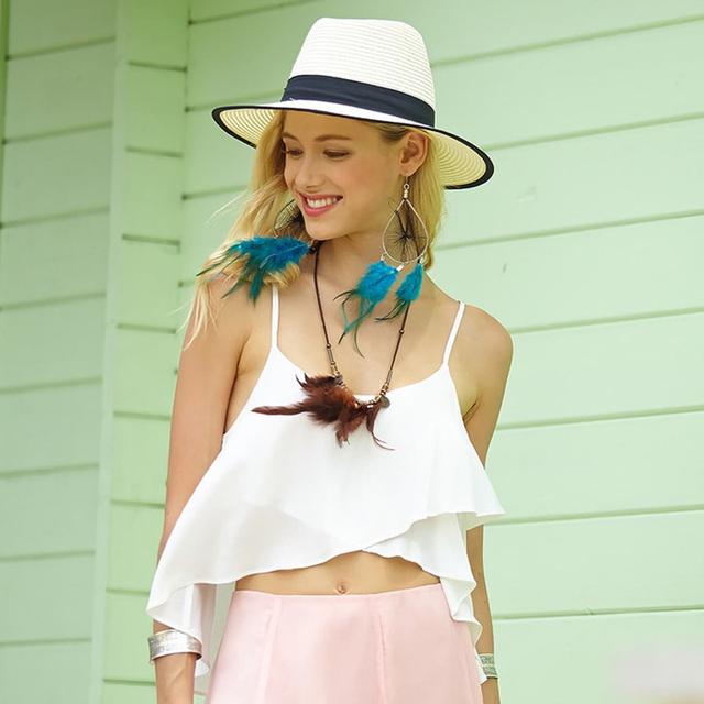 Blusa de Verão Sexy Branco Mulheres Chiffon Tops Spaghetti Strap Profundo Decote Em V Cor Sólida 2016 Nova Chegada Top Curto Cropped Feminino