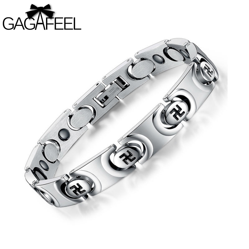 Mode Hommes Titane Acier Santé Magnétique Bracelet Fylfot Bracelet Dieu Bénisse Chanceux Bracelet Mâle Dominateur Bijoux Cadeau B3268