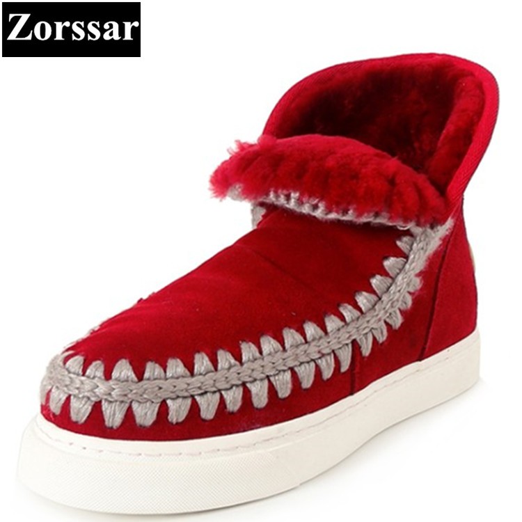 {Zorssar} 2017 NEW winter warm plush Womens snow Boots cow suede casual flat heel platform ankle Boots fashion women shoes flats fashion womens shoes warm winter cotton shoes tennis feminino casual girl shoes comfortable ladies flats long plush women flats
