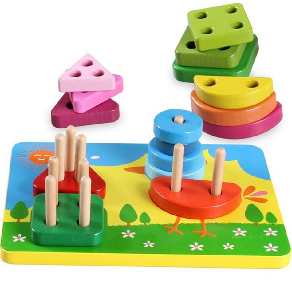Kid's Soft Montessori Wooden Geometric Assembling Blocks ...