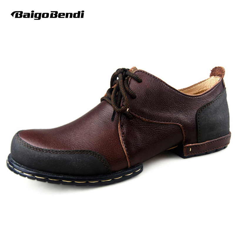 Classical Mens Top Genuine Leather Round Toe Retro Shoes Lace Up Work Safety Oxford Business Man Casual Shoes