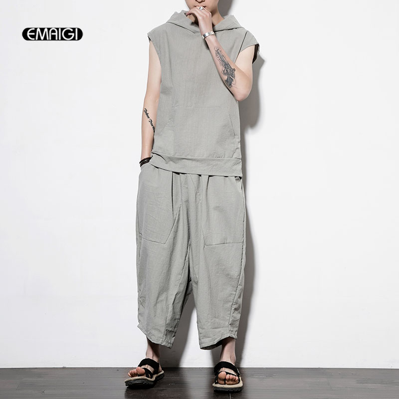 Men 2PCS Sets (tshirt+pant) Loose Casual Wide Leg Pant Male Beach Harem Trouser