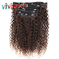 "Kinky Curly Clip In Hair Extensions Dark Brown Kinky Curly Clip Ins 10""-26"" Double Welft Curly Human Hair Clip In Extensions"