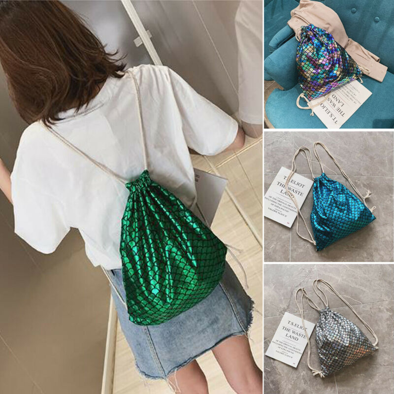 NoEnName Fish Scale Women Drawstring Backpacks Sports Travel Shoulder Bags Satchel Tote Clutch  Elastic Rucksack