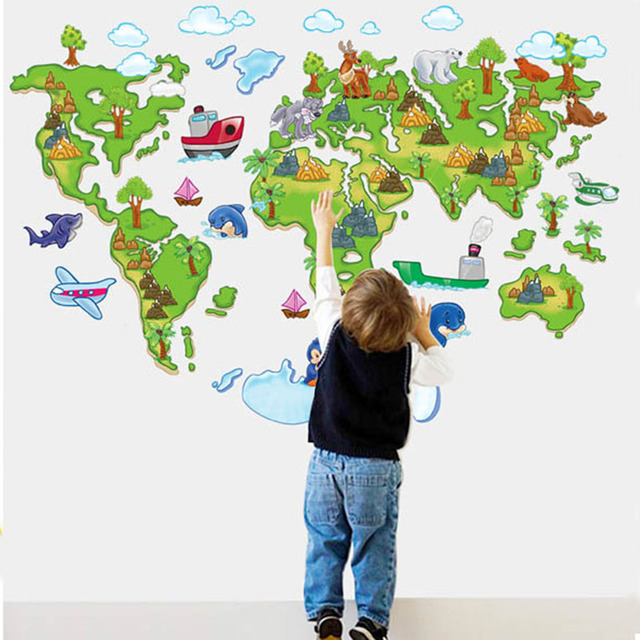 Animal Cartoon Colours World Map 3D DIY Vinyl Wall Sticker For Kids Rooms  De Parede Poster