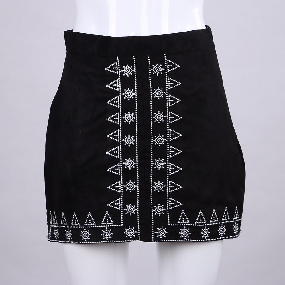 HTB1cunmNFXXXXapXFXXq6xXFXXXA - FREE SHIPPING  Embroidery Suede A-line Skirt Black Brown Mini Skirts JKP350