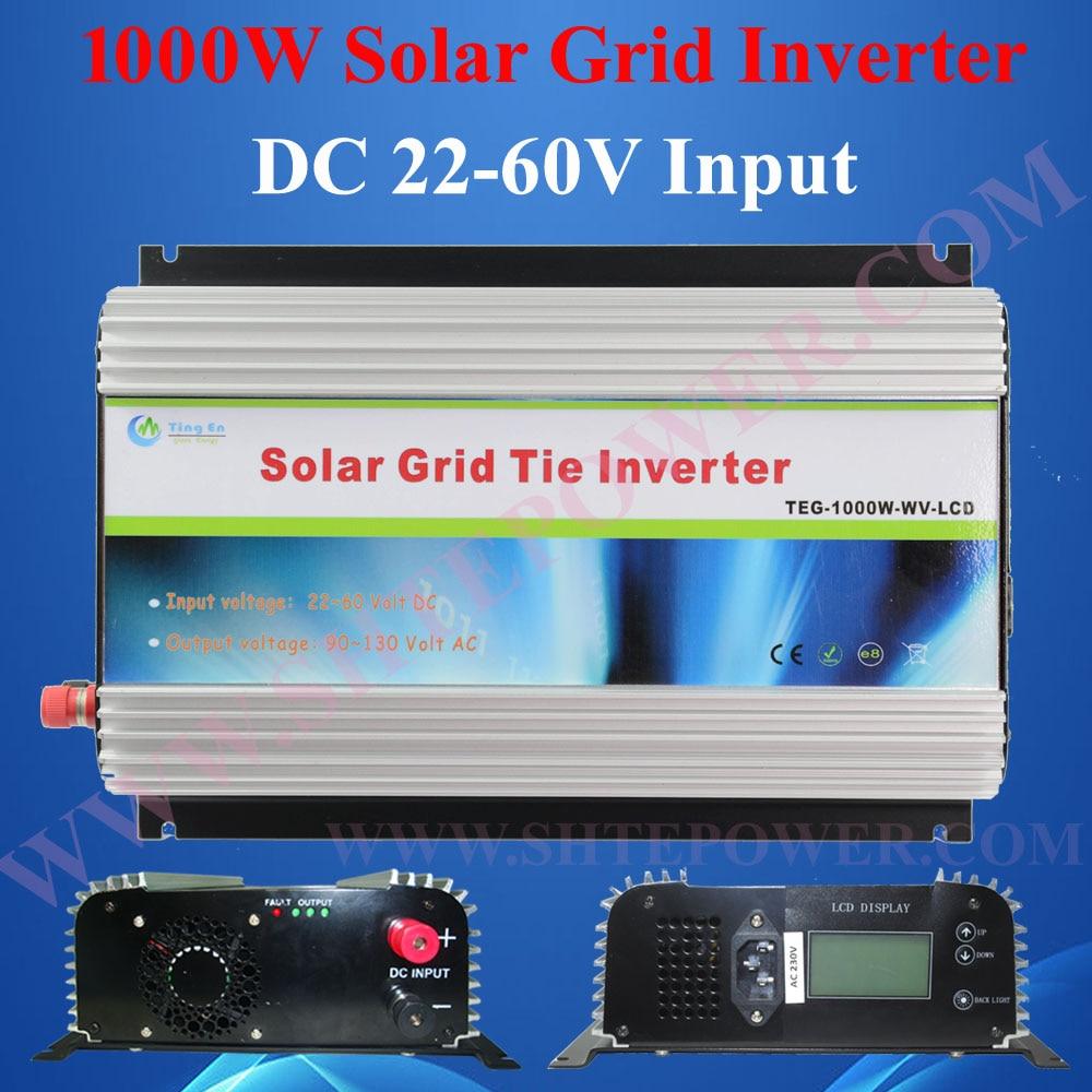 Free shipment 22-60VDC to 190-260VAC mppt on grid tie 1kw solar inverter for solar panel system 1kw on grid tie mppt solar inverter 1000w dc 22 60v input to ac 190 260v 90 130v output