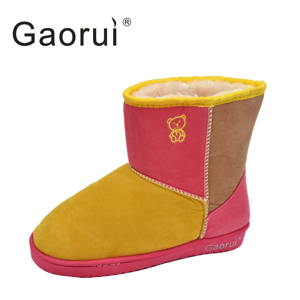 2016 Fashion Women Girl Sweet colorful Suede Winter Warm Flat Ankle shoes  snow boots Splice color stitching wholesale