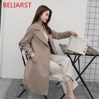 BELIARST 2018 осень-зима новые женские длинный абзац выше колена свободные, с модные ручной работы двусторонний Шерстяное пальто