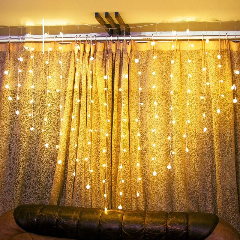 AC220V 2x1.5m Heart Shape 128LED 34 Hearts LED String Holiday Light Christmas Wedding Home Decoration Curtain lights Garland