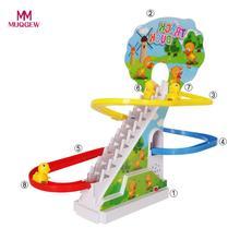 Бегущие блоки желтая утка Электрический светильник музыка аттракцион Электрический подъем лестницы трек игрушки для детей brinquedos 15