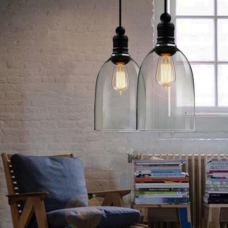 Luzes pingente de ferro do vintage de vidro branco pendurado sino pingente lâmpada E27 110 V 220 V para sala de jantar decoração de casa planetário HM41 - 3