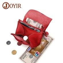 JOYIR Genuine Leather Men Coin Wallet Slim Women Small Purse Coins Cards & Cash Vintage Design Button Zipper Pouch