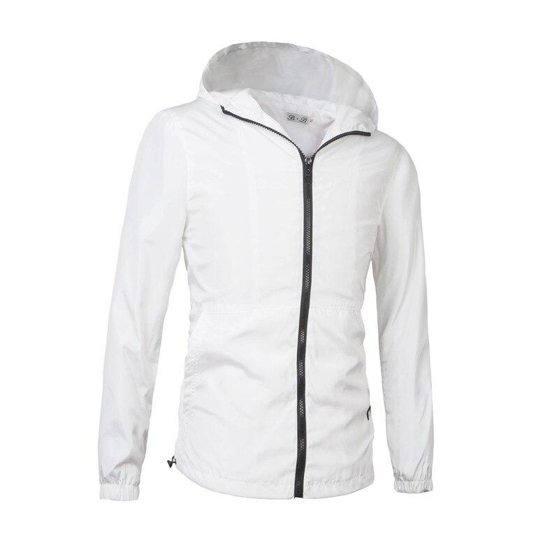 Solid men casual Hooded Coats White/Black Jackets Zipper open M-3XL Waterproof Windbreaker Man Coat Slim fit hoodies MQ450