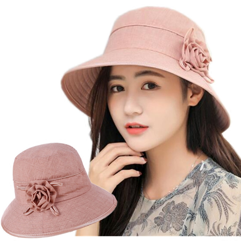 Sun hats for women Summer Bucket Hat Wide Brim Anti-UV caps Solid color Bob bone outdoor Fishing cap for Women AD289