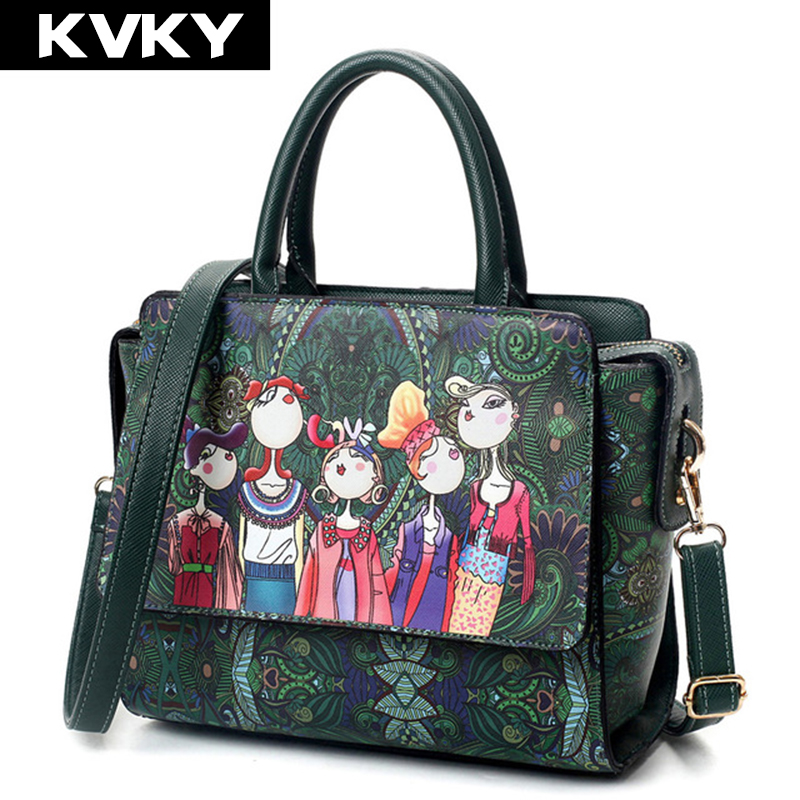 KVKY Brand Fashion Green Forest Design Women Handbags Shoulder Messenger Bag Ladies Crossbody Bag Mini Trapeze Tote bolsas women shoulder bags leather handbags shell crossbody bag brand design small single messenger bolsa tote sweet fashion style