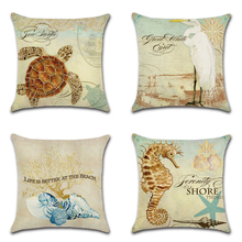 New Submarine Animals Series Cushion Cover Cotton Linen Egret Seahorse Home Deocrative Pillow Cover for Sofa Cojines Pillowcases футболка selected 16060725 egret