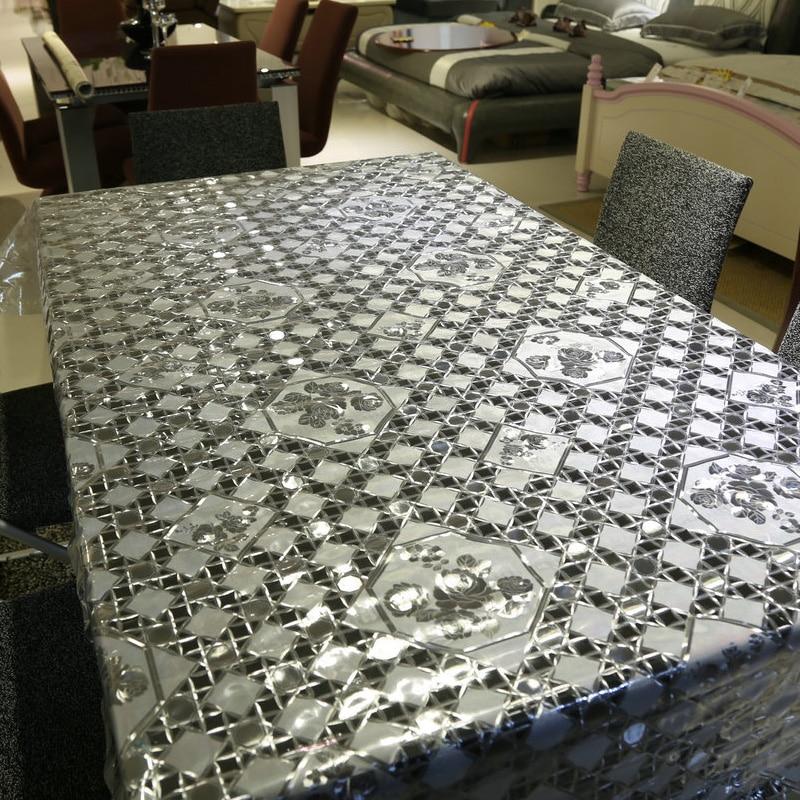 Karšto pardavimo baltas ir skaidrus plaid stalo audinys PVC aliejus - Namų tekstilė - Nuotrauka 3