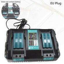 Duplo carregador de bateria para makita 14.4v 18v bl1830 bl1430 dc18rc dc18ra plugue da ue