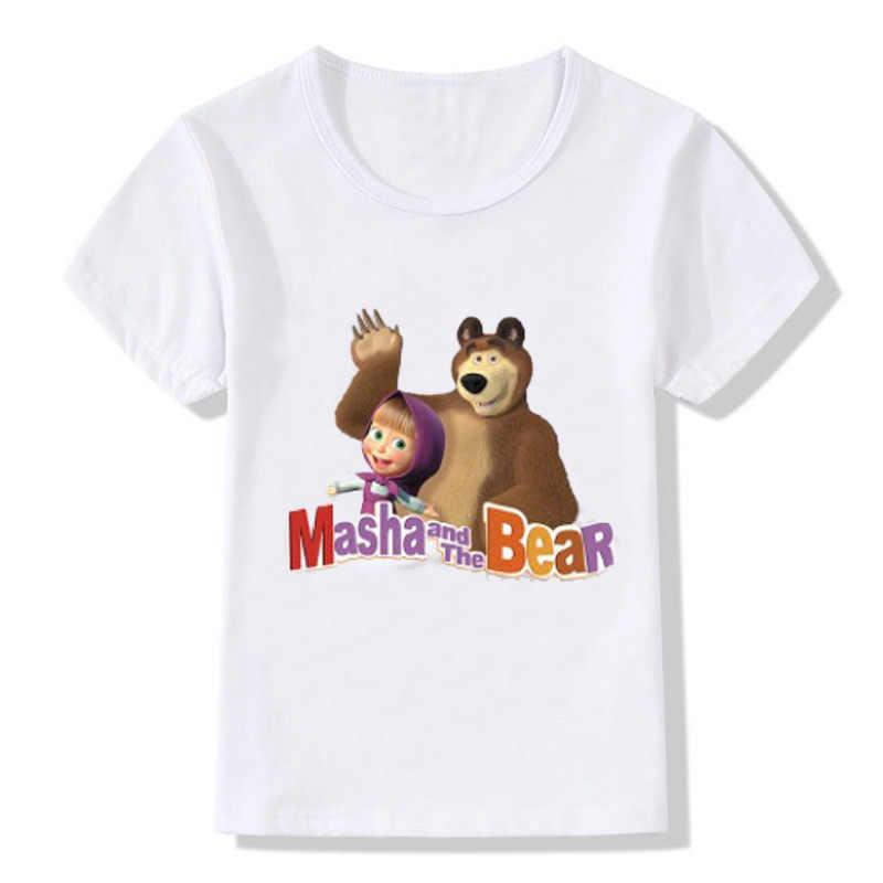 Футболка с рисунком Марты и медведя для мальчиков и девочек детская летняя футболка с короткими рукавами из 100% хлопка топы, одежда детская футболка