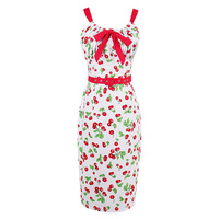 Sisjuly Women Summer Straight Dress Female Red Floral Print Bow Belt Sleeveless Dresses Knee Length Spaghetti