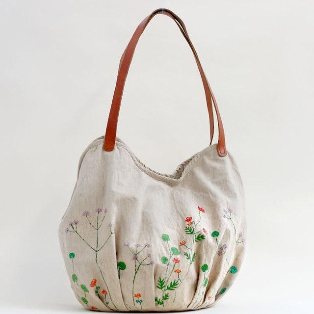 Limited Edition Pure Hemp Cloth Bucket Bag Bags Shoulder 2017 Handmade