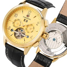 Mechanical Watch Top Brand Automatic Self-Wind Luxury Watches Men Black Leather Strap Skeleton Clock Male Fashion relojes hombre forsining 2016 fashion brand luxury leather strap dress automatic mechanical self wind men analog watch auto date for man watch