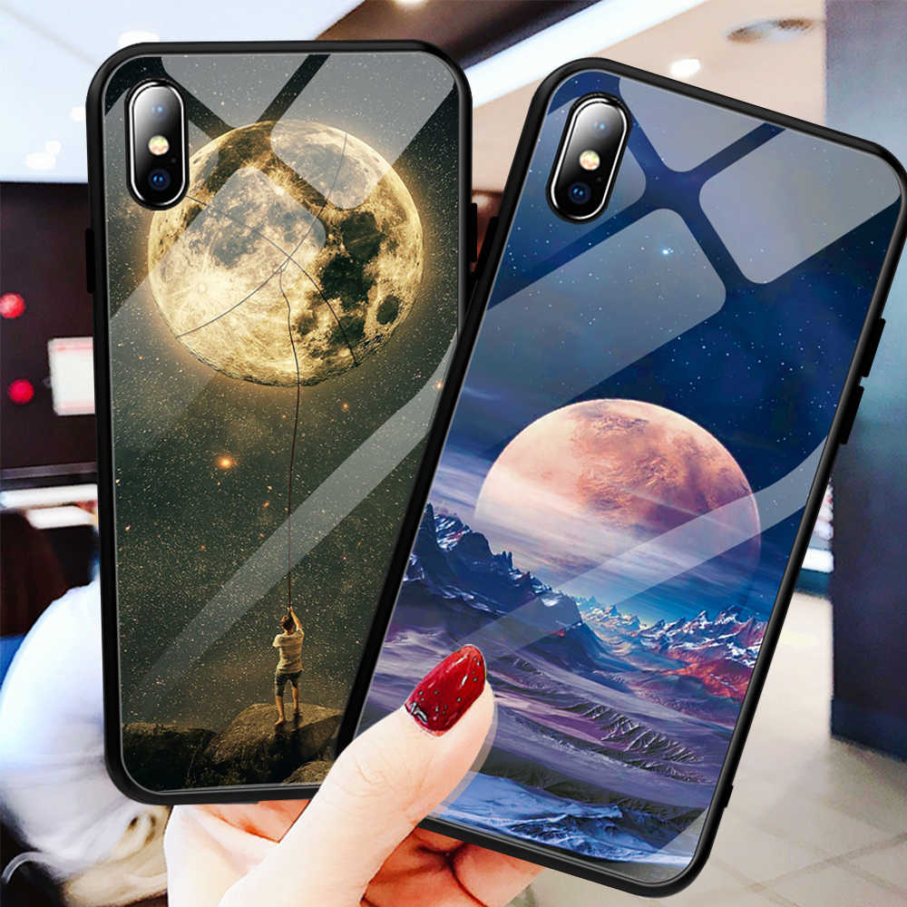 GerTong Space Star Tempered Glass Case For iPhone XS Max XR X 7 6 6S 8 Plus Pattern Cover For Samsung Galaxy S9 S8 Plus Note 8