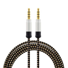 1.5 meter high-grade braided metal audio cable 3.5 mm AUX audio cable(China)