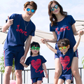 Love Heart Family Set Family Matching Outfits Mother Daughter Father Son T shirt Clothes Cotton Family Clothing Sets 3XL SH32