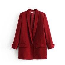 Красный маленький костюм весна осень женский Блейзер Плюс размер модные женские черные пиджаки пальто длинный рукав свободная повседневная женская одежда Топы Куртка
