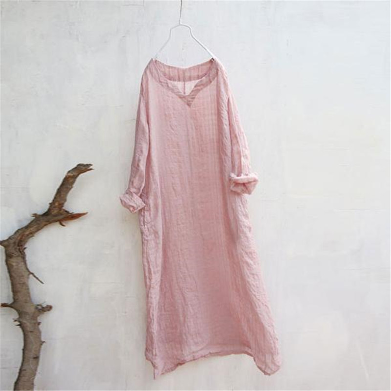 BUYKUD 2018 Summer Women Loose Lattice Pink Dress Linen Cotton V Neck Long Sleeve Casual Midi Dresses With Pockets Plus Size