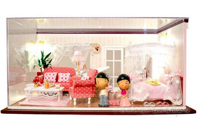 13820 Hongda DIY wooden doll house miniature dollhouse bedroom voice led lights free shipping пледы hongda textile махровое чудо коричневый широкая полоса