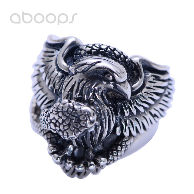 Vintage Unique Black 925 Sterling Silver Eagle Snake Fighting Ring Jewelry for Men Boys Size 8 9 10 11 Free Shipping