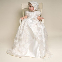 Newborn Photography Props for Girls Long Lace Flower Newborn Baptism Dress Two piece Suit Embroidery Baby Christening Gown Dress