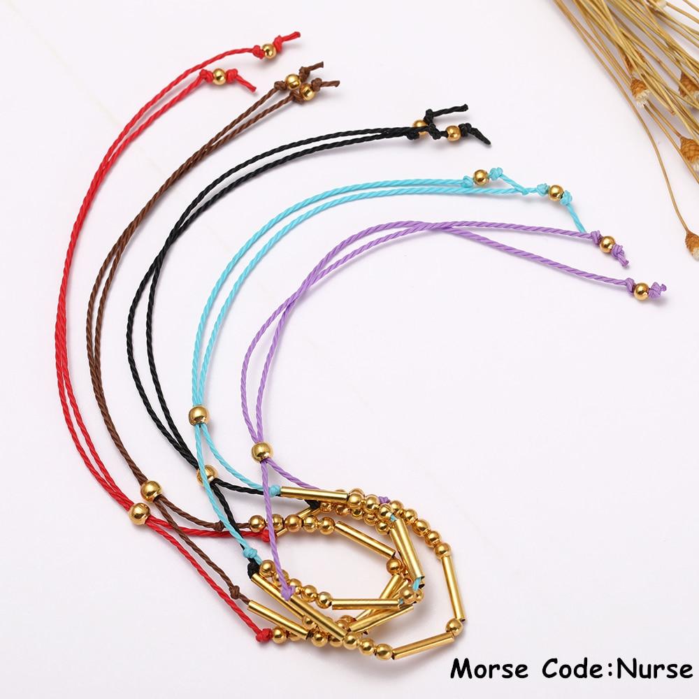 Wrap Bracelets Painstaking Dawapara Handmade Morse Code Bracelet Custom Multi-color Personalized Hidden Message Nurse Diy Bracelet For Woman Gift