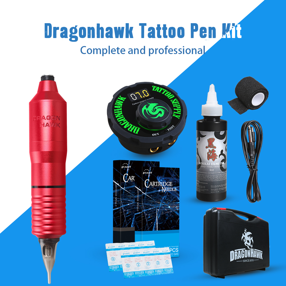 Professional Tattoo Pen Kit Rotary Machine Set With LCD Mini Power Tattoo Pedal Switch Supply цены онлайн